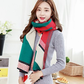 Ericdress Geometric Double Sided Imitation Cashmere Shawl