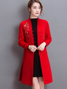 Ericdress Slim Embroidery Floral Coat