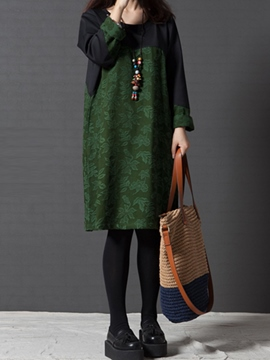 Ericdress Color Block Print Patchwork Loose Casual Dress