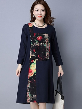 Ericdress Floral Print Patchwork Loose Knee-Length Casual Dress