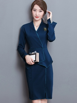 Ericdress Asymmetric Patchwork Hemming Brooch Casual Dress