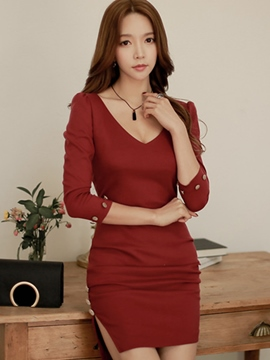 Ericdress Three-Quarter Sleeve V-Neck Button Patchwork Bodycon Dress