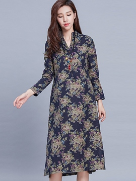 Ericdress Print V-Neck A-Line Casual Dress