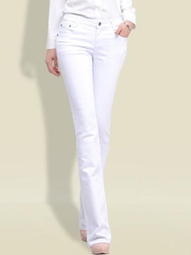 Ericdress Plain Color Low-Waist Full Length Slim Jeans