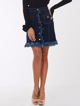Ericdress Simple Tassel Denim Skirt