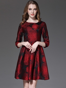 Ericdress Vintage Floral Embroidery Three-Quarter Sleeve Pleated Casual Dress