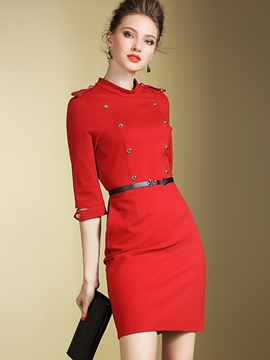 Ericdress Double-Breasted Epaulet Belt Sheath Dress