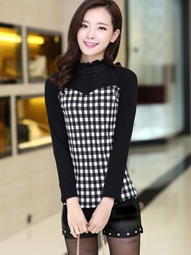 Ericdress Plaid Patchwork Casual T-Shirt