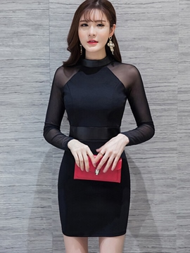 Ericdress Solid Color Mesh Patchwork Stand Collar Bodycon Dress