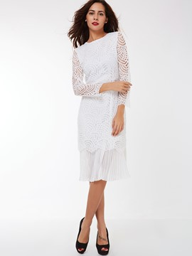 Ericdress Lace Hollow Pleated Patchwork Casual Dress