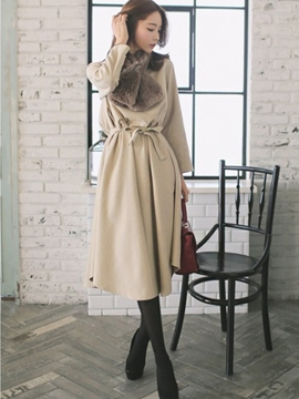 Ericdress Solid Color Lace-Up Korean Style Casual Dress