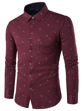 Ericdress Polka Dots Print Vogue Slim Men's Shirt