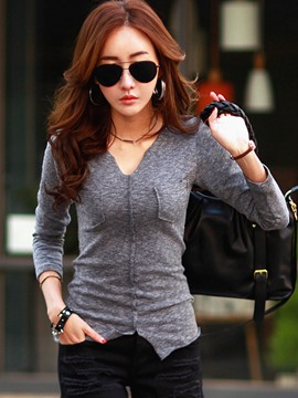 Ericdress V-Neck Slim Long Sleeve T-Shirt