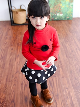 Ericdress Stand Collar Mouse Patchwork Girls Top