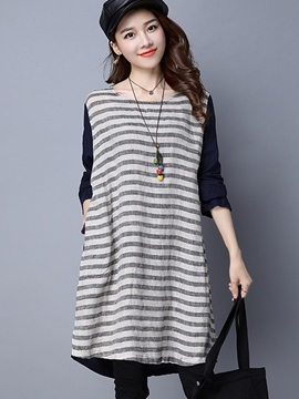 Ericdress Strip Color Block Knee-Length Casual Dress