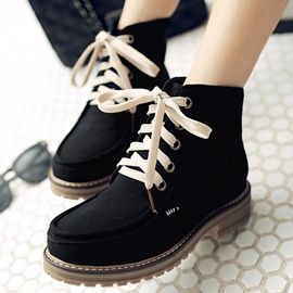 Ericdress British Style Lace-Up Ankle Boots