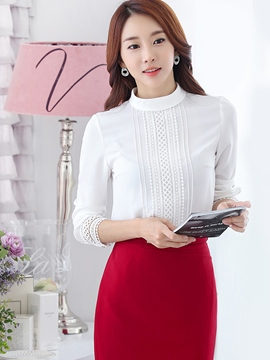 Ericdress White OL Long Sleeve Blouse