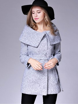 Ericdress Slim Solid Color Turn-Down Lace-Up Coat