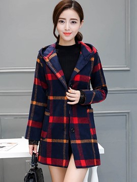 Ericdress Plaid Slim Hooded Casual Coat