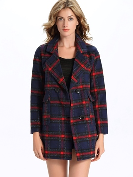 Ericdress Plaid Straight Color Block Coat