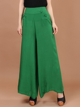 Ericdress Solid Color Chinese Ethnic Style Pants