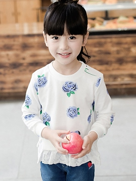Ericdress Lace Patchwork Floral Print Girls Top