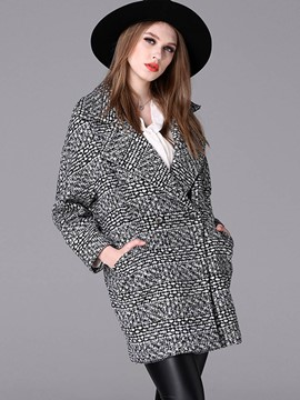 Ericdress European Straight Plaid Coat