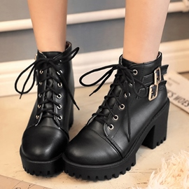 Ericdress Cool Black Lace up Martin Boots