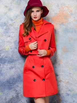 Ericdress Solid Color Trench Coat Suit