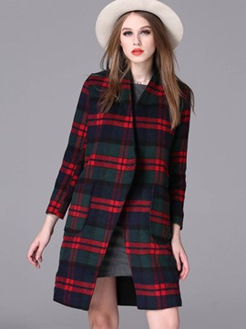 Ericdress Straight Plaid European Coat