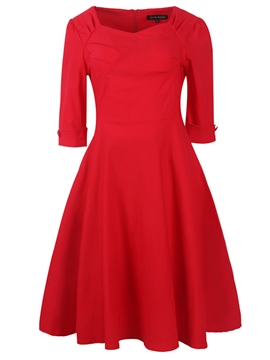 Ericdress StyIeIines Three-Quarter Sleeve Pleated Casual Dress