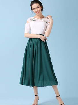Ericdress Color Block Pleated Ankle-Length Casual Dress