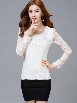 Ericdress Floral Crochet Slim Lace Blouse