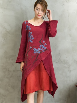 Ericdress Ethnic Hand Painted Patchwork Casual Dress