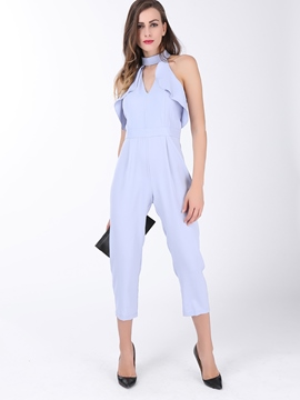 Ericdress Plain Color Falbala Sleeveless Zipper Slim Jumpsuits Pants