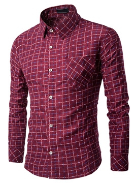Ericdress Pocket Patchwork Vogue Plaid Slim Men's Shirt