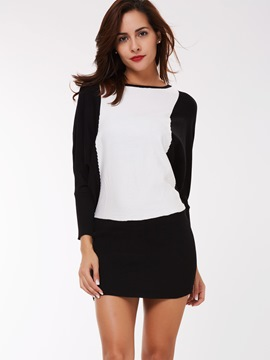 Ericdress Color Block Batwing Sleeve Sexy Knitwear