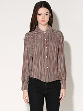 Ericdress Single-Breasted Printed Blouse