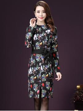 Ericdress Floral Print Lace-Up Split Casual Dress