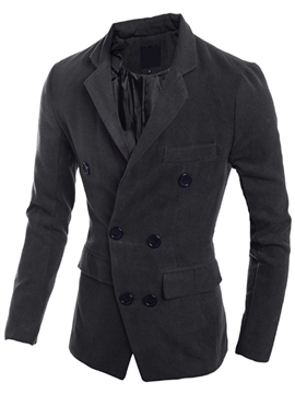 Ericdress Plain Lapel Double-Breasted Woolen Blends Men's Coat