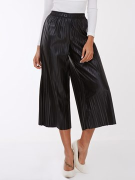 Ericdress Unique Pleated PU Wide Legs Pants