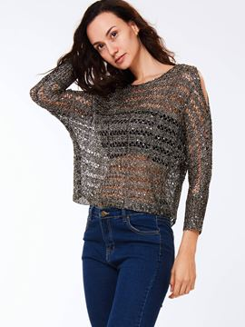Ericdress Cold Shoulder See-Through Knitwear