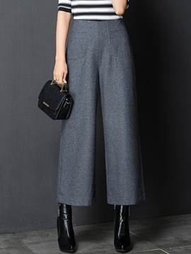 Ericdress High-Waist Elastics Thick Wide Legs Pants