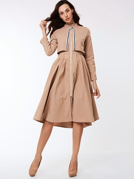 Ericdress Slim Zipper Wave Cut Trench Coat