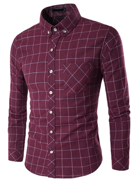 Ericdress Plaid Quality Long Sleeve Slim Men's Shirt