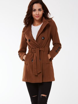 Ericdress Plain Slim Belt Casual Coat