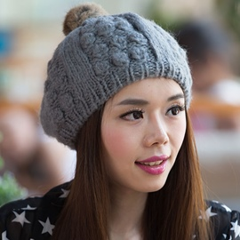 Ericdress Rabbit Hair Pompon Hand Knitted Hat