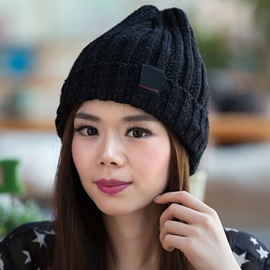 Ericdress Black Thick Slouchy Knitted Hat