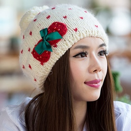 Ericdress Bowknot Decorated Warm Knitted Hat