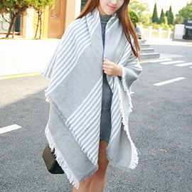 Ericdress Gray and White Fringed Scarf/Shawl